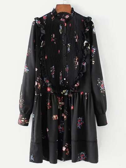 Pleated Detail Ruffle Trim Floral Dress