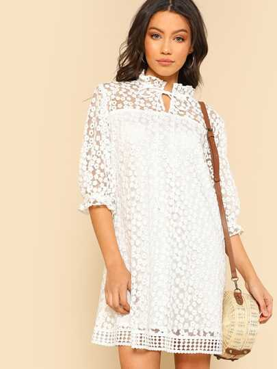 Tie Neck Geo Lace Hem Flower Embroidered Dress