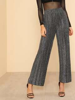 Metallic Pleated High Waist Pants SILVER