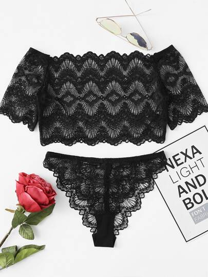 Crop Lace Bardot Top And Pantie PJ Set