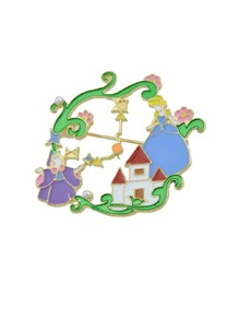 Enamel Red House Shape And Girl Flower Pattern Accessories Brooches
