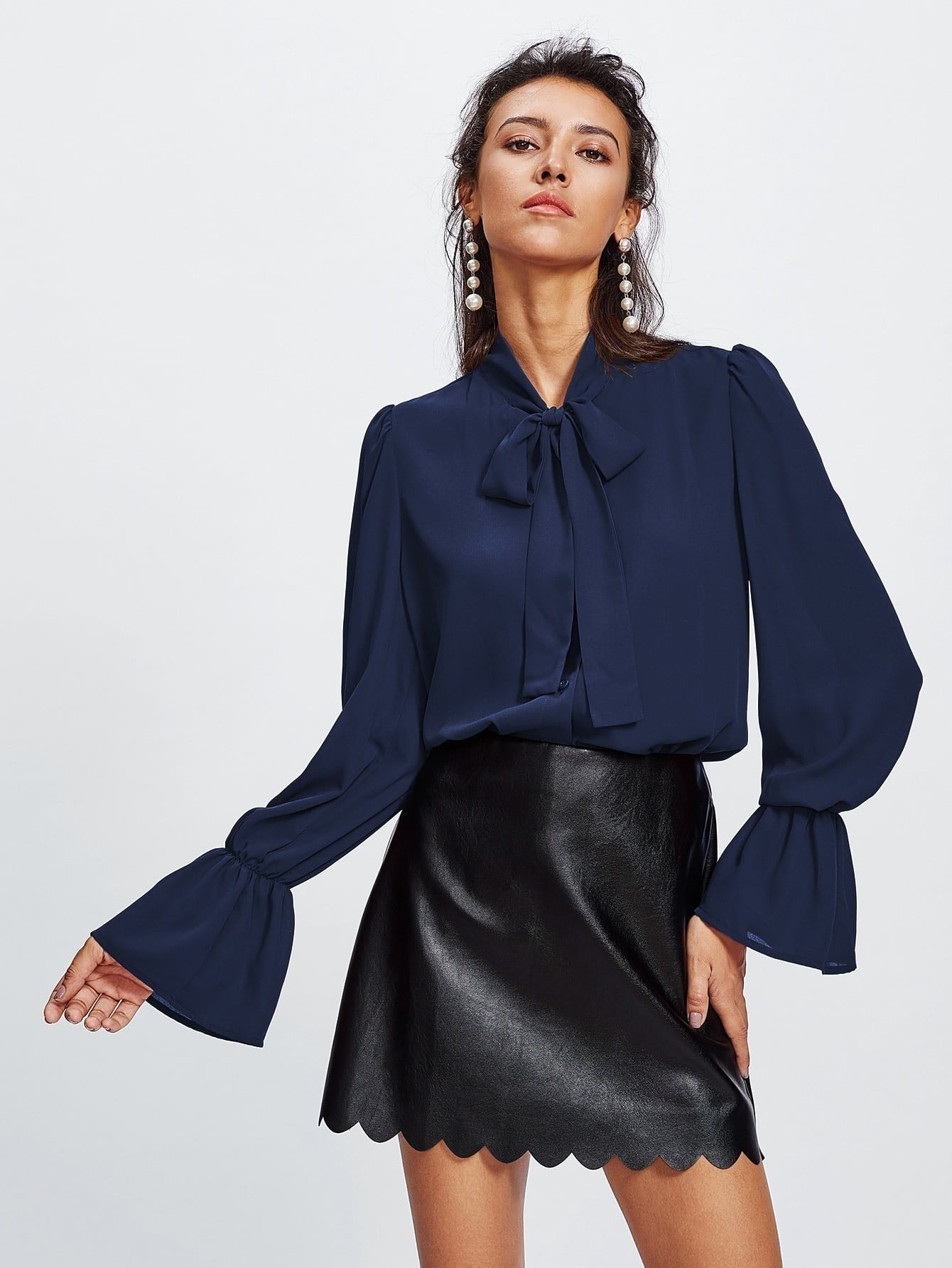 Elastic Trumpet Cuff Bow Tied Blouse bow tied cuff pocket front blazer
