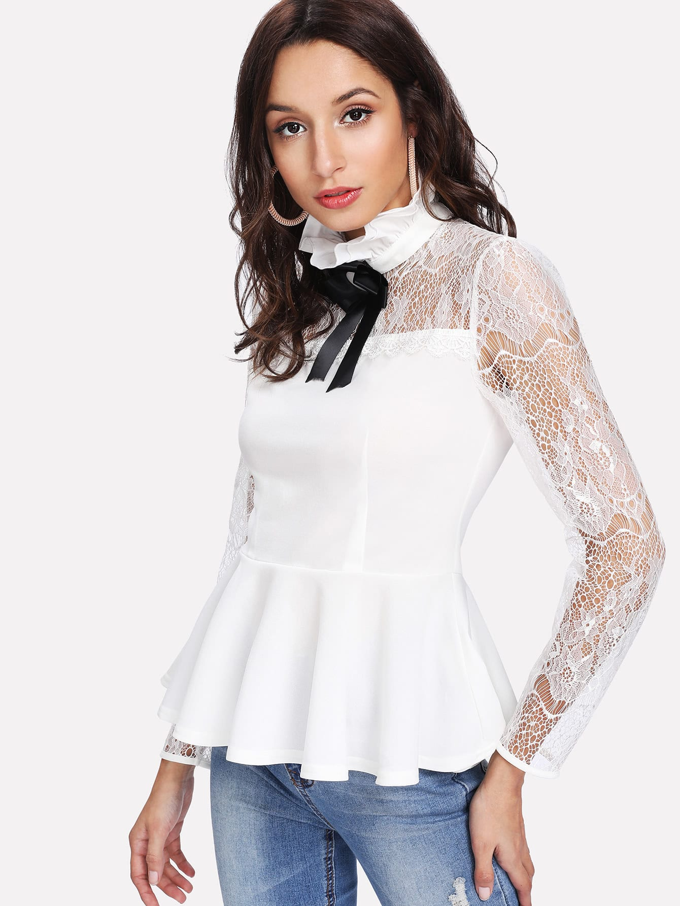 Ruffle Neck Lace Yoke Peplum Top blouse171228710
