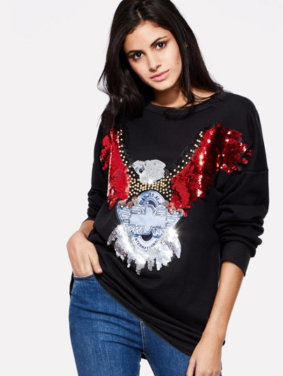 Contrast Sequin Studded Detail Sweatershirt