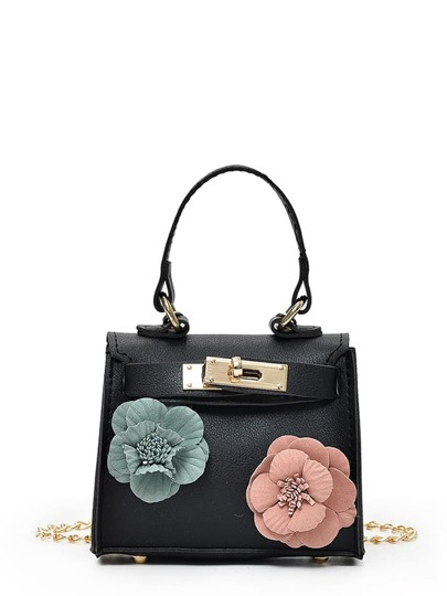 Flower Embellished Twistlock Chain Bag