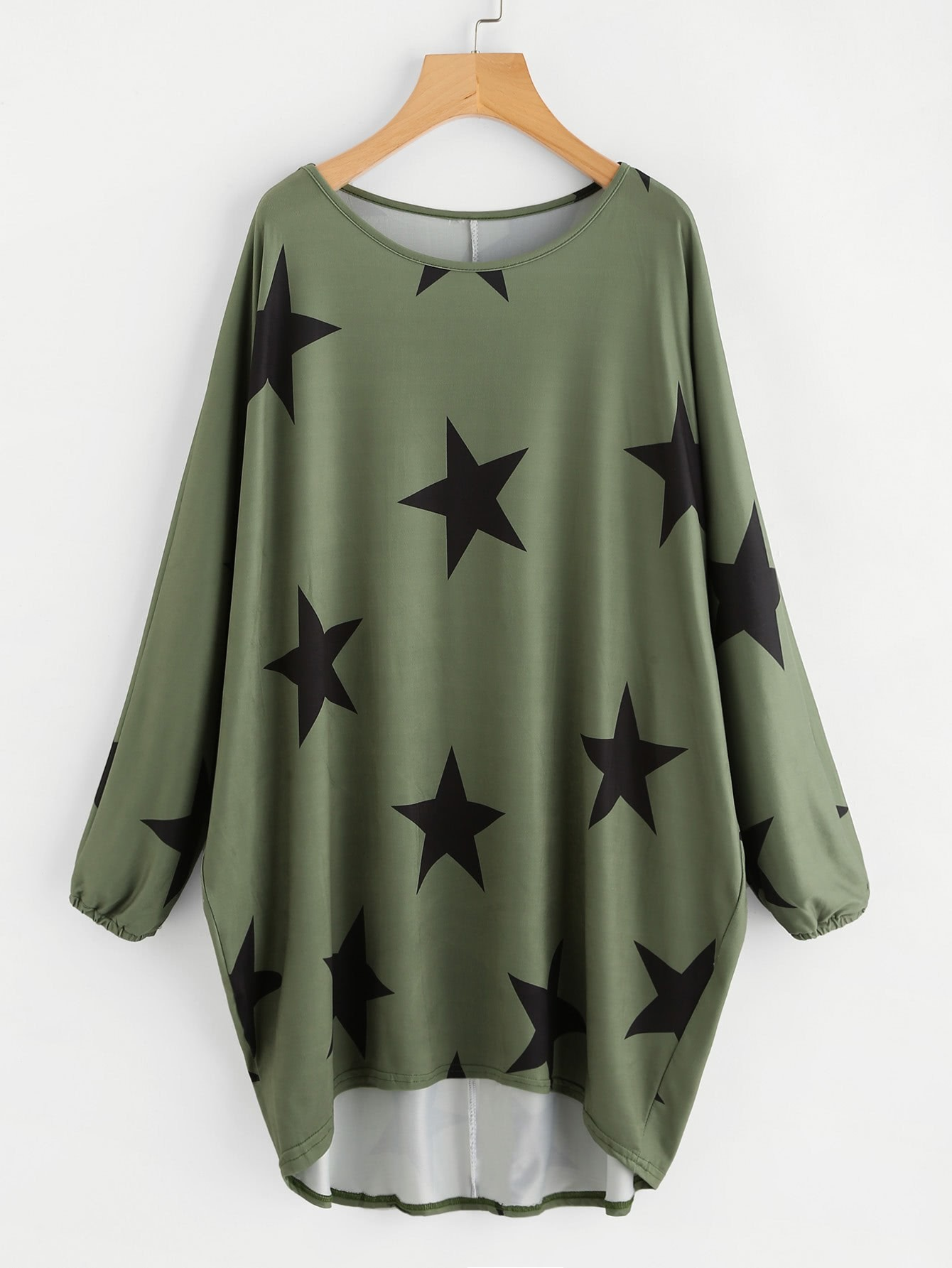 Random Stars Print Dip Hem Cocoon Dress rhinestone decorated shoulder bag