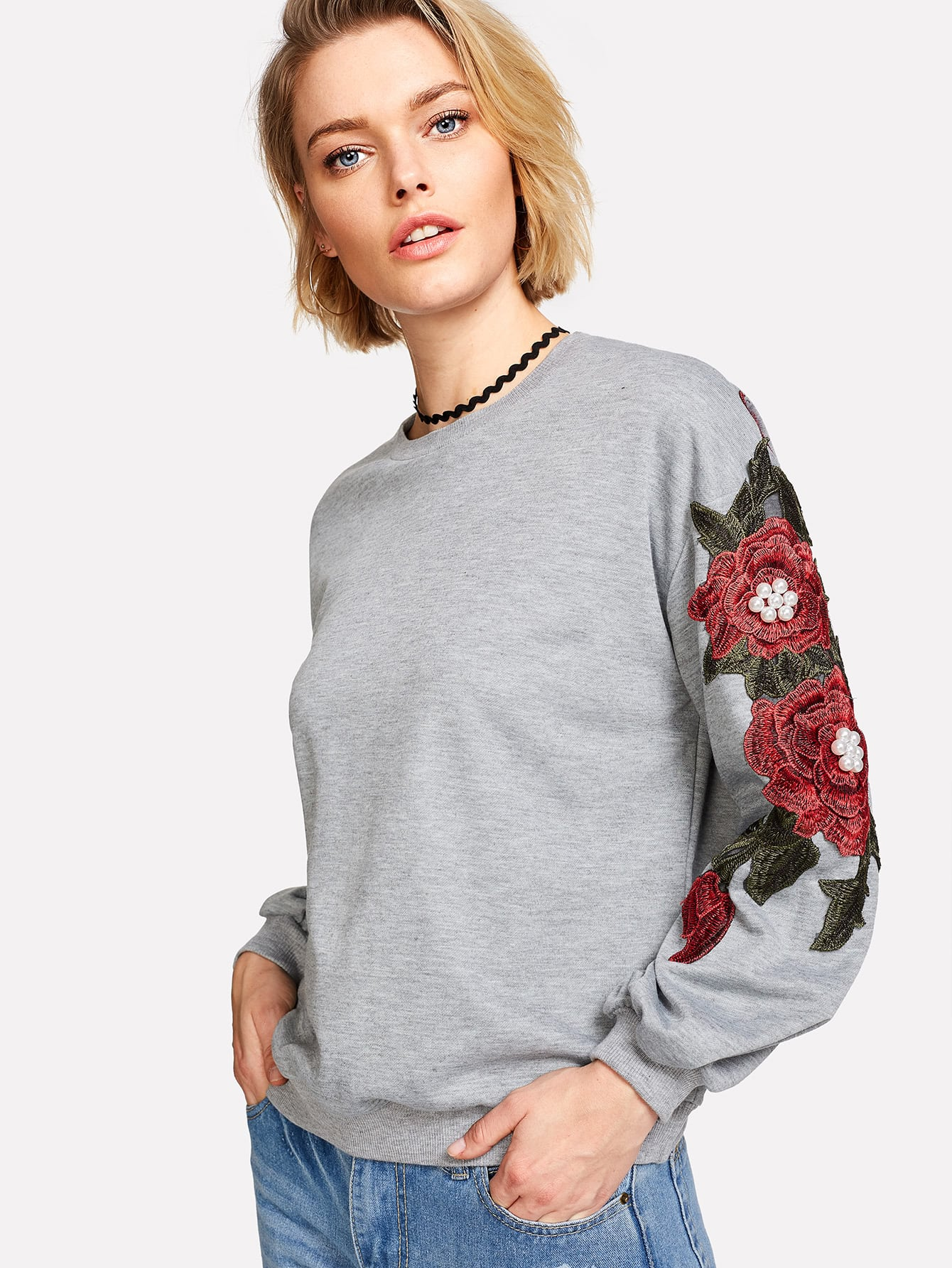 Pearl And Embroidery Detail Drop Shoulder Pullover pearl and layered lace detail pullover