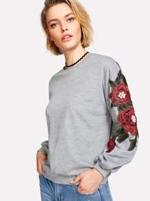 Pearl And Embroidery Detail Drop Shoulder Pullover