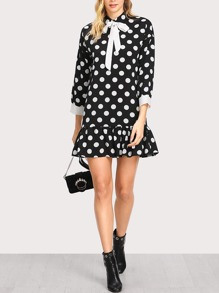 Bow Tie Neck Pep Hem Spot Dress
