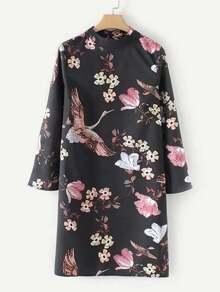 Tied Back Crane Print Dress