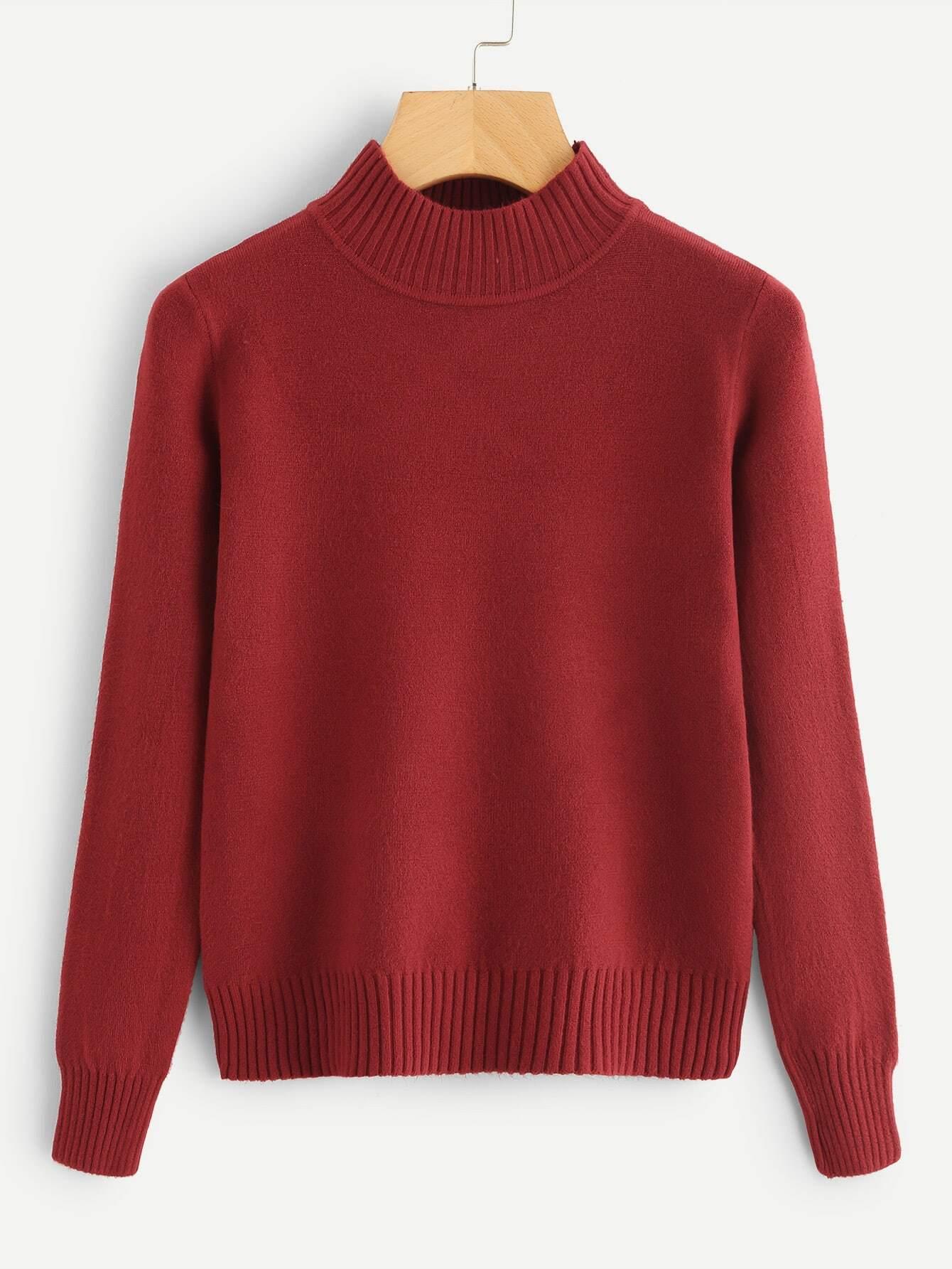 Turtleneck Ribbed Trim Sweater