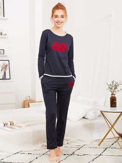 Lip Print Tee & Pants Pajama Set