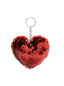 Sequin Decorated Heart Keychain