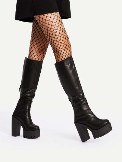 Round Toe Back Zipper Knee High Boots