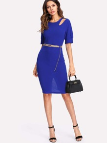 Slash Front Slim Fitted Dress