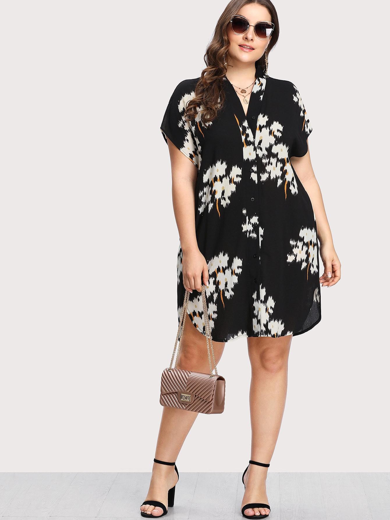 Купить Модное платье-рубашка на кнопках с принтом, Franziska, SheIn