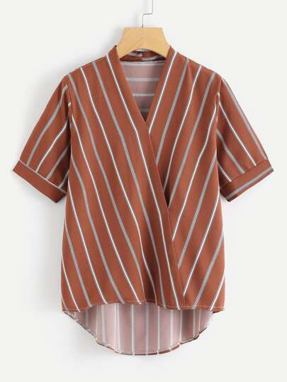 Surplice Wrap Pinstripe Blouse