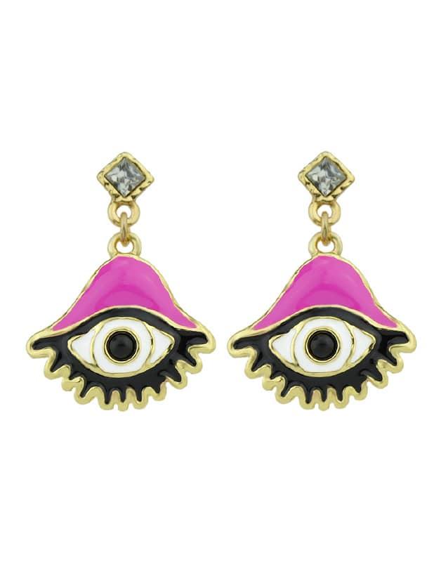 Enamel Large Eye Pattern Dangle Earrings