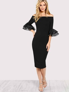 Tiered Ruffle Sleeve Bardot Pencil Dress