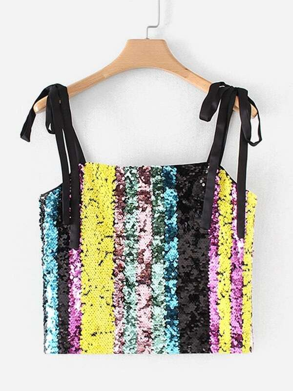 Image of Block Striped Sequin Cami Top