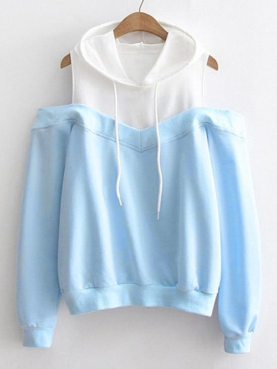Contrast Panel Open Shoulder Hoodie open shoulder solid hoodie