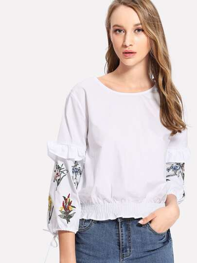 Ruffle Detail Shirred Hem Embroidered Blouse