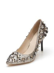 Flower Embellished Glitter Stiletto Heels