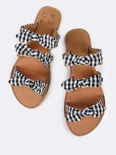 Triple Bow Slip On Sandals BLACK WHITE