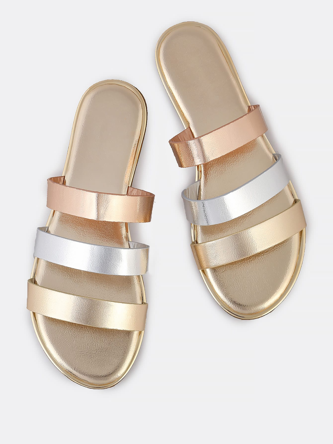 Metallic Multi Color 3 Strap Slip-On Sandalen GOLD
