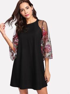 Embroidery Mesh Sleeve Keyhole Back Dress