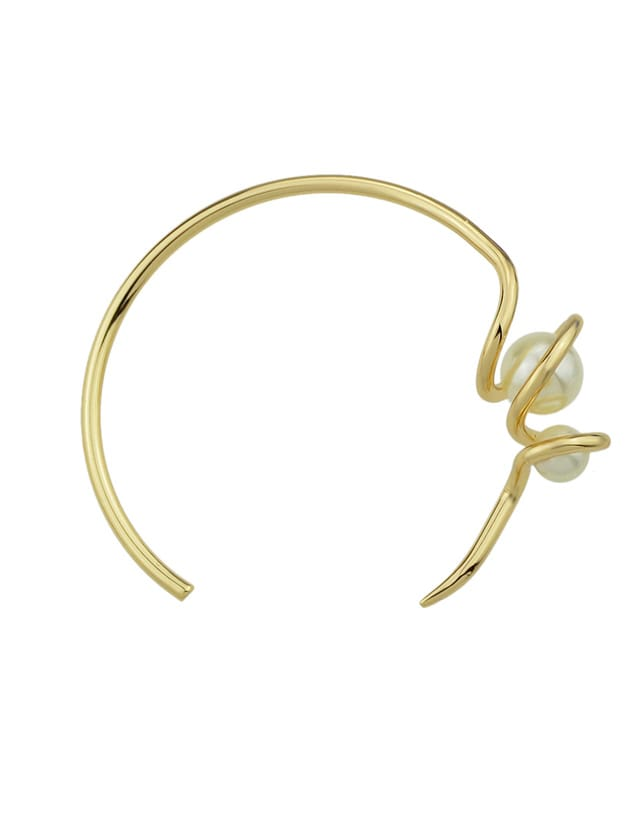 Simulated-Pearl Geometric Open Cuff Bracelets