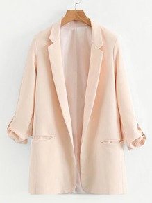 Roll-up Sleeve Longline Tailored Blazer