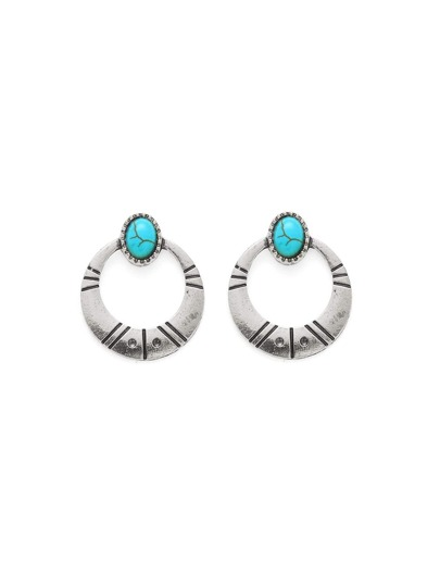 Open Hoop Earrings With Turquoise Detail
