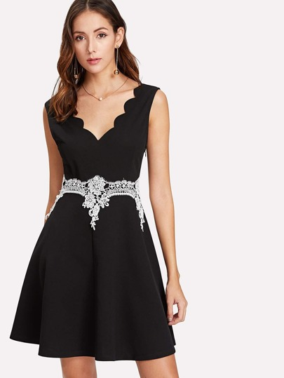 Lace Applique Waist Scalloped Trim Dress