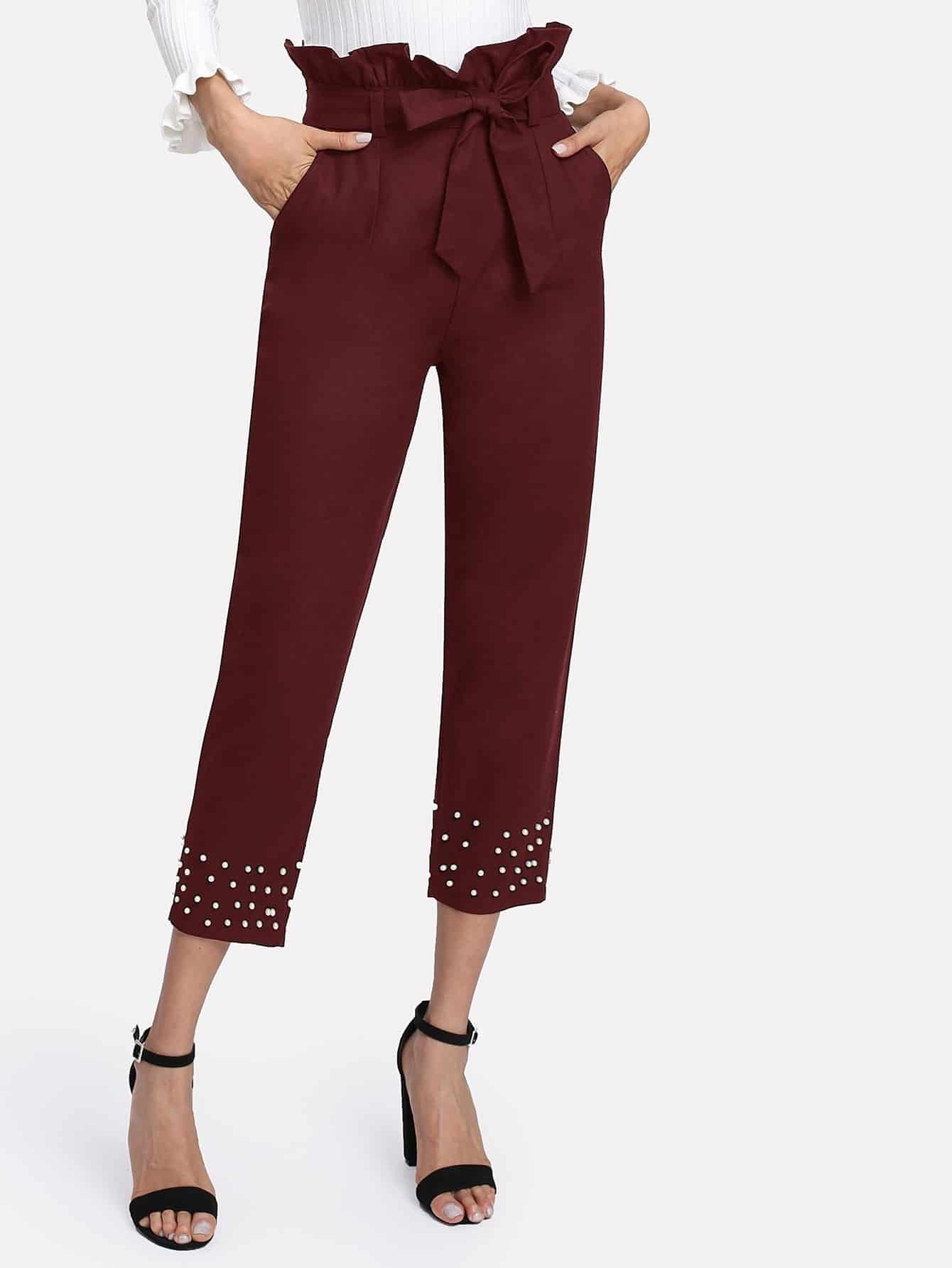 Модные брюки с бусинами, Andy, SheIn  - купить со скидкой