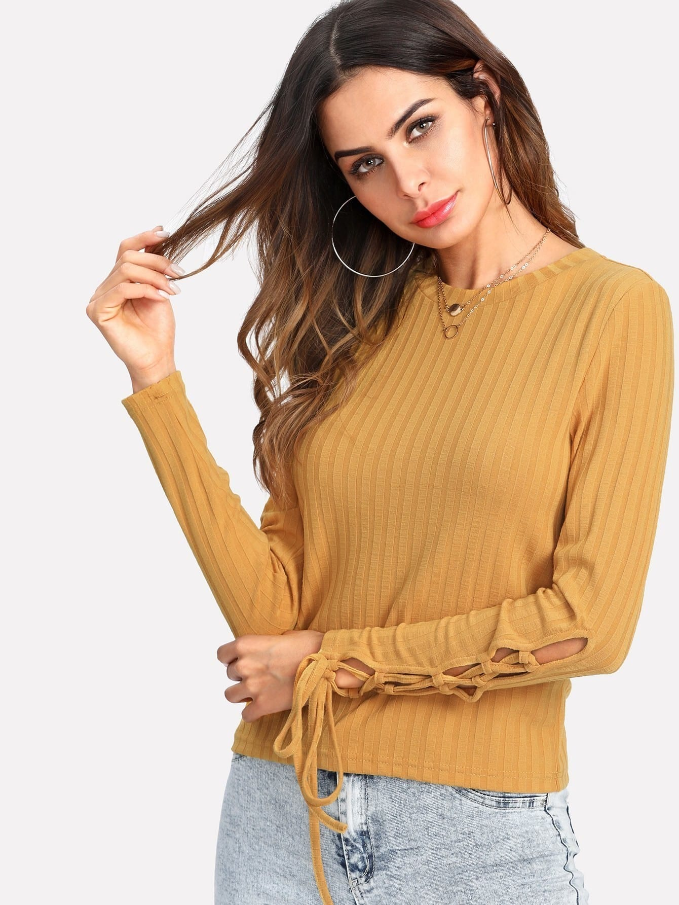 One Shoulder Open Ribbed Knit Tee color block knit ribbed tee