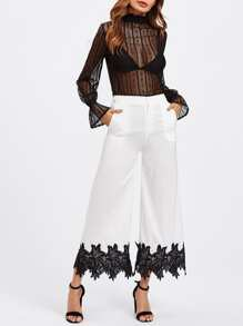 Lace Crochet Wide Leg Pants