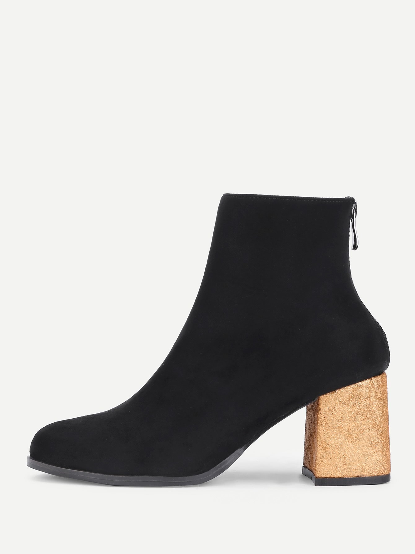 Back Zipper Gold Heeled Ankle Boots heeled chelsea boots
