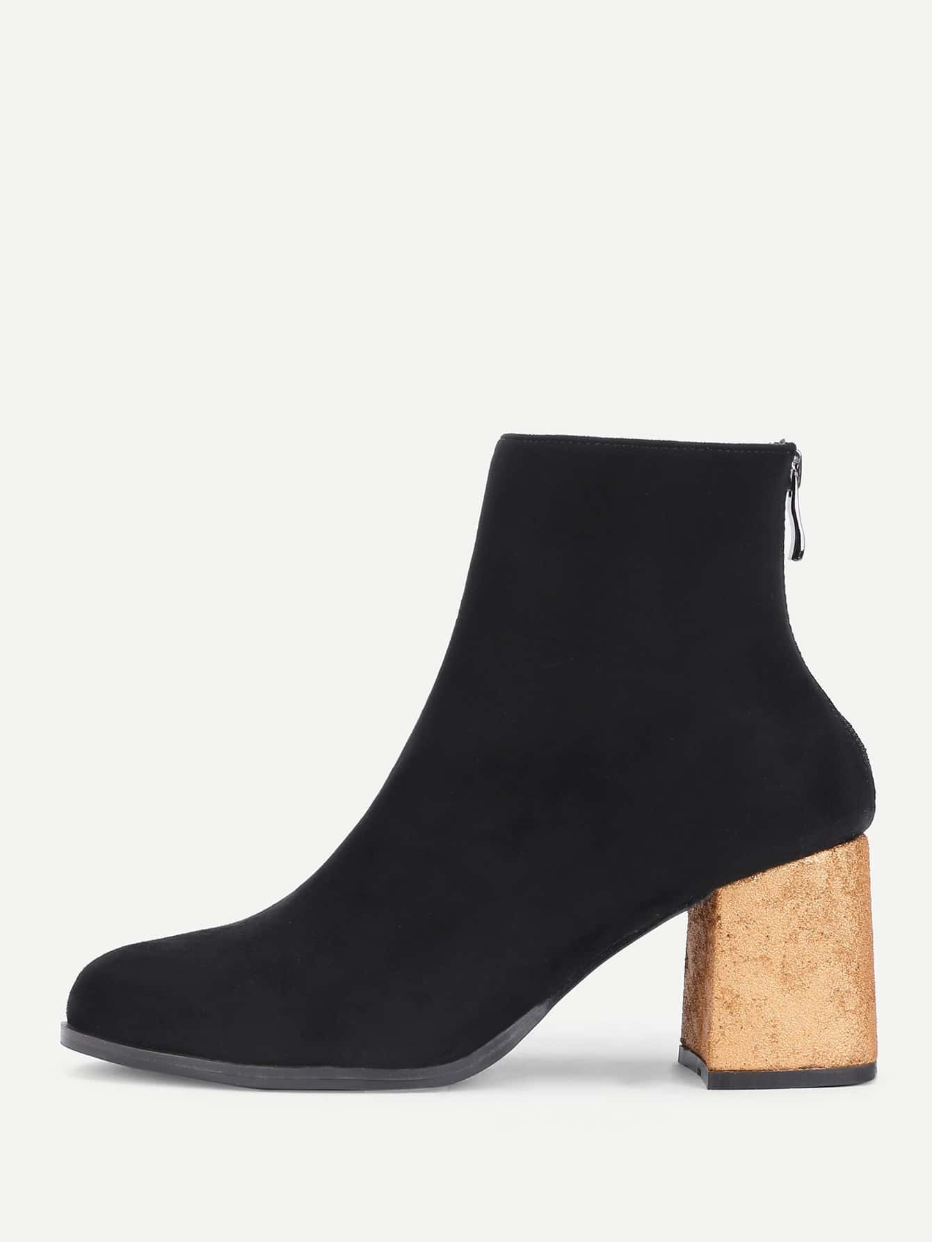 Back Zipper Gold Heeled Ankle Boots