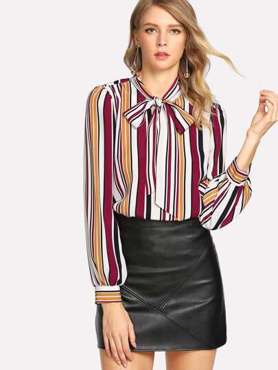 Tie Neck Striped Blouse