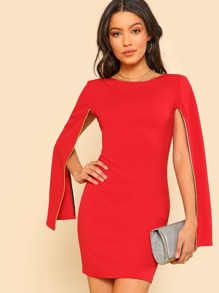 Contrast Tipping Cloak Sleeve Dress