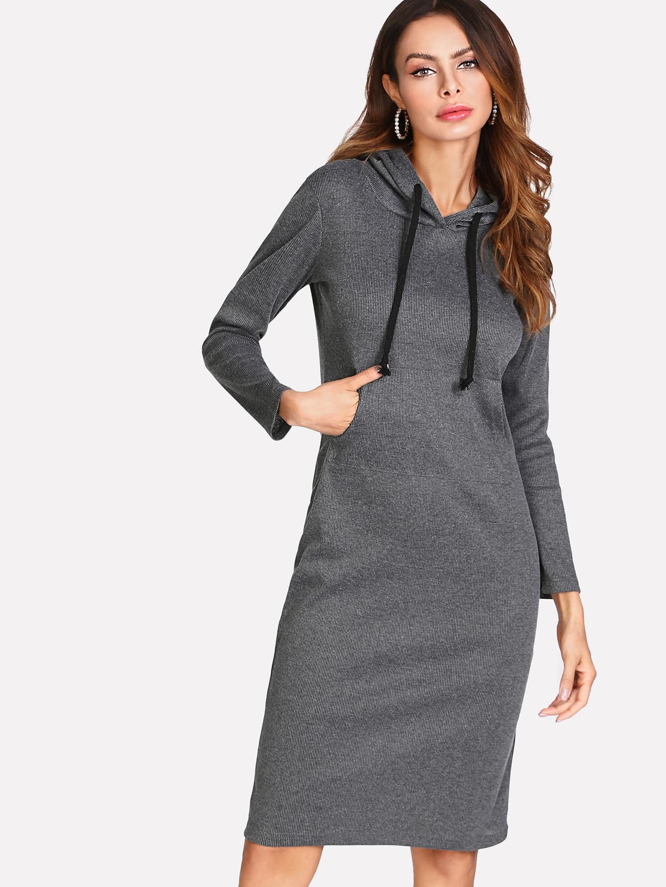 Rib Marled Knit Hooded Dress dress171215101