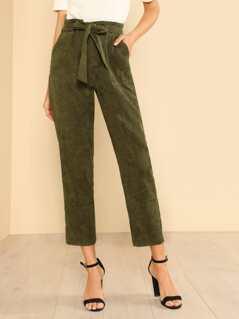 Tie Waist Patch Pocket Detail Pants