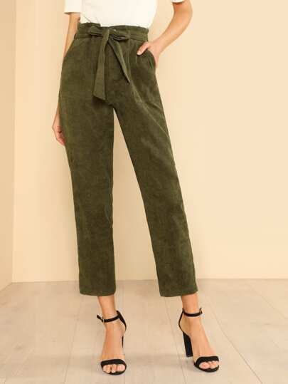 Tie Waist Patch Pocket Detail Pants