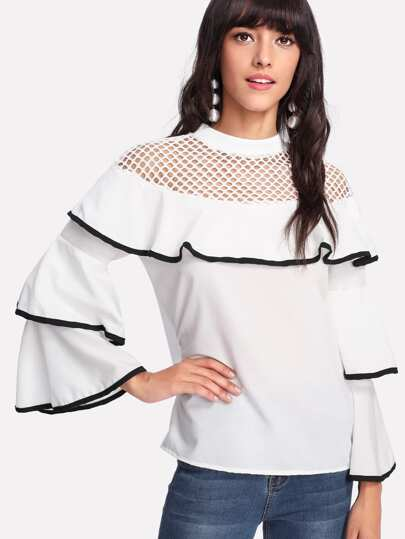 Contrast Trim Fishnet Panel Ruffle Blouse