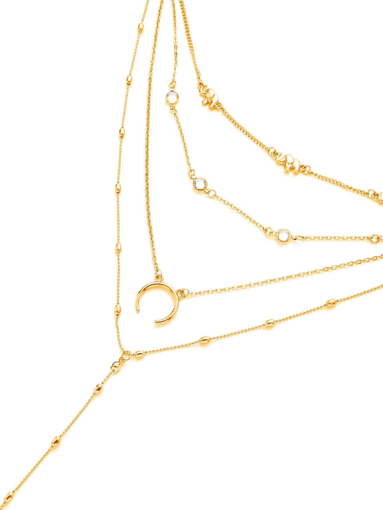 Horn & Elephant Pendant Layered Chain Necklace