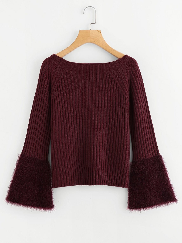 Contrast Faux Fur Cuff Ribbed Sweater contrast faux fur cuff pullover
