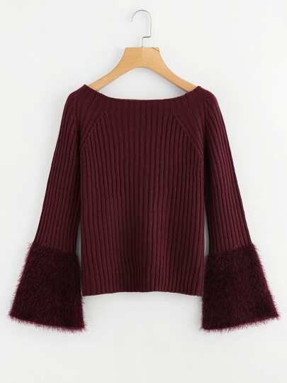Contrast Faux Fur Cuff Ribbed Sweater