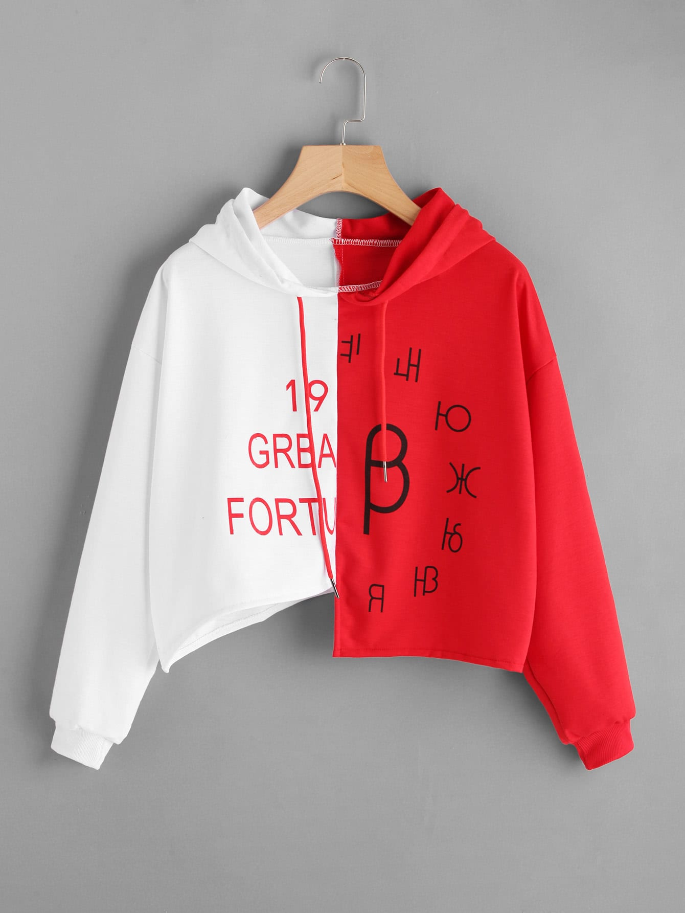 Two Tone Letter Print Asymmetric Hoodie two tone heart