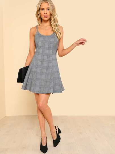 Plaid Fit & Flare Cami Dress